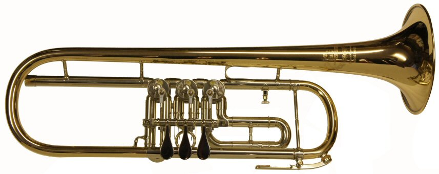 B&S 3005/2 Rotary Valve Bb Trumpet. Gold brass bell. Outfit includes case & mouthpiece