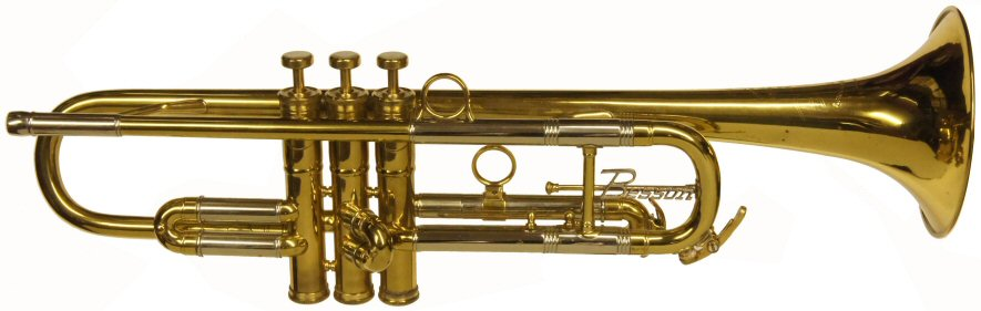Besson New Creation Trumpet C1959. Large bore. Lacquered brass finish. Very good condition & in playing order. This model was played by Kenny Baker & Eddie Calvert. Includes case, probably original. Serial number 290XXX. Price £699.00