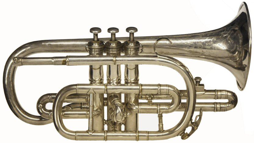 """Boosey Silbron Cornet. Engraved on bell. N.V.A, """"Silbron"""", Class A, Boosey & Co LTD, Makers London, 132608.British throughout. Restored to reasonable playing order. Instrument only . Price £299.00"""