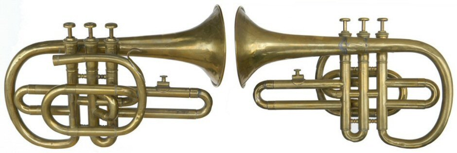 JH Ebblewhite Cornopean made between 1854 & 1882. Inscribed on bell JH Ebblewhite Maker & Importer 24 Aldgate High St London E. Brass mouthpiece, 2 shanks & Ab crook included