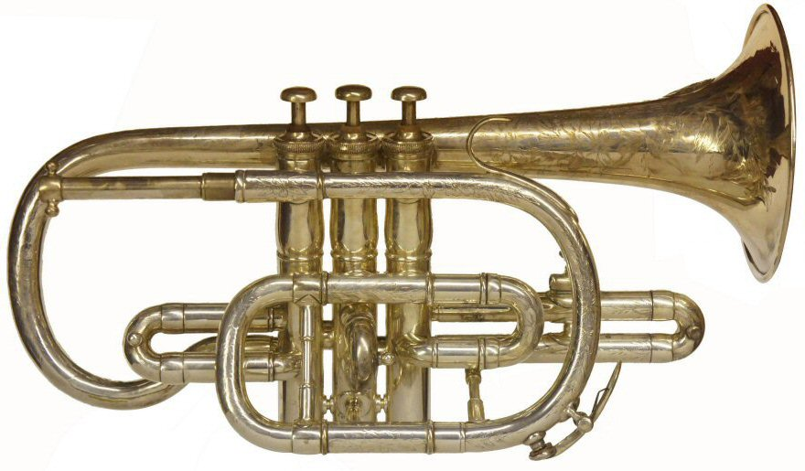 Higham Clearbore Cornet. Engraved on bell. Clearbore contesting model Class A EXHIBITION PRIZE MEDAL AWARDED TO J HIGHAM ltd Makers 127 Strangeways, Manchester, England. Restored to reasonable playing order. Instrument only . Price £399.00