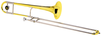 "King Legend, 2B model, .481/.491"" (12.22/12.47mm) dual bore, 7-3/8"" (187mm) yellow brass bell, nickel silver outer slides, lacquer finish, 12C mouthpiece, woodshell case.This classic jazz trombone is noted for its projection and excellent upper range."