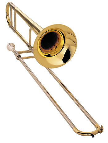"King 2102LS Legend Trombone, Jiggs Whigham model, .491"" (12.47mm) bore, 7-3/8"" (187mm) bell, nickel silver outer slides, lightweight slide, lacquer finish, Whigham mouthpiece, 7553L woodshell case. With short tuning slide for extended first position."