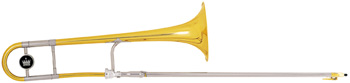 "King 3B Trombone Legend, 3B model, .508"" (12.9mm) bore, 8"" (203mm) yellow brass bell, nickel silver outer slides, lacquer finish, 12C mouthpiece, woodshell case. The King 2103 3B Trombone is the most versatile commercial trombone in the world, suitable for both lead and solo playing"