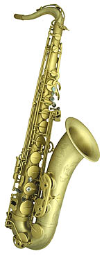 Mauriat Swing-55 Tenor Sax. Centered & focused sound. Bronze body with matt brass lacquered bell. Standard compact flared bell. White pearl key touches. Hand engraved bell