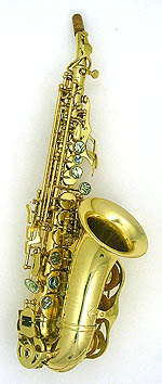 Mauriat PMSS-2400DK Curved Soprano Sax. Gold lacquer. Abalone shell key touches. Hand engraved. Warm dark sound